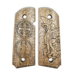 Archangel Michael X Saint Benedict Medal - 1911 Compact Size Officers Grips